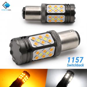 CANBUS Error Free White/Amber 1157 LED DRL Switchback Turn Signal Light Bulbs