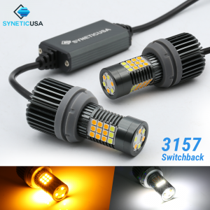 Error Free White/Amber 3157 LED 3030 Chip DRL Switchback Turn Signal Light Bulbs
