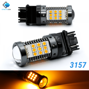 All-in-one CANBUS Error Free 3157 3157CK Amber Yellow Super Bright LED Turn Signal Bulbs