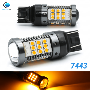 All-in-one CANBUS Error Free 7443 7443CK Amber Yellow Super Bright LED Turn Signal Bulbs