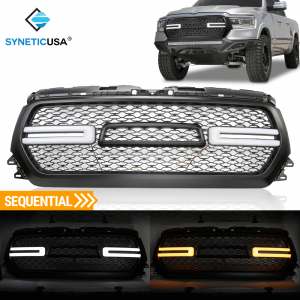 2019-2020 Ram 1500 Front Bumper Mesh Grille DRL LED Sequential Signal Light