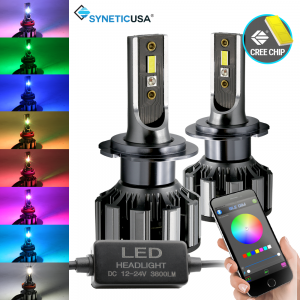 H7 Cree CSP LED Headlight Fog Light Kit + RGB Bluetooth Phone Control
