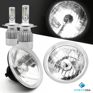 "7"" Chrome Clear Lens Sealed Beam Headlight Conversion + H4 CREE LED Kit"