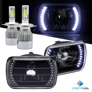 "7""X6"" inch Headlights Sealed Beam Chrome Smoked Lens Halo Rings + H4 CREE LED"