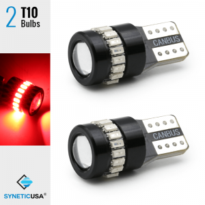 CANBUS Error Free T10 LED Red Interior Third Brake Projector Light Bulbs