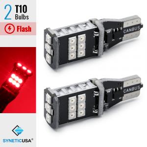CANBUS Error Free T10 LED Red Flash Strobe 3rd Brake High Mount Light Bulbs
