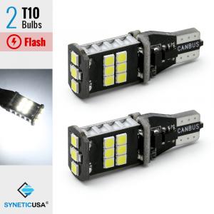 CANBUS Error Free T10 LED White Flash Strobe 3rd Brake High Mount Light Bulbs