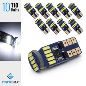 10x T10/194 15-LEDs 4014 Chips, 461 LM, 6000K White Light Bulbs