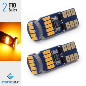 T10/194 15-LEDs 4014 Chips, 408 LM, 3000K Amber/Yellow Light Bulb