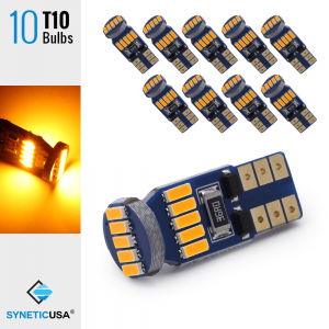 10x T10/194 15-LEDs 4014 Chips, 408 LM, 3000K Amber/Yellow Light Bulb