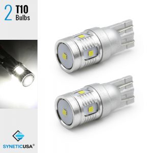 2X T10 High Power CSP LED 6000K White Interior License Plate Light Bulbs