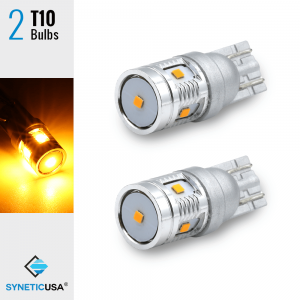 2X T10 168 921 High Power CSP LED Amber/Yellow Interior Light Bulbs