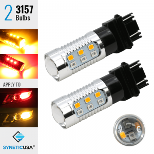2835 Red/Amber 3157 LED Type 1 Switchback Turn Signal Parking Light Bulbs