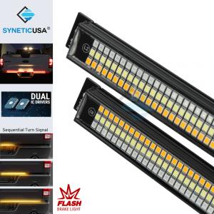 "60"" Solid Beam LED Tailgate Light Bar Amber Sequential Turn Signal + Flash Strobe Brake"