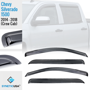 2014-2018 Silverado 1500 Crew Cab, Black Smoked, Window Vent Visors