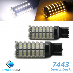 7443/7440 Super Bright 120-SMD Dual Color Switchback LED Bulbs