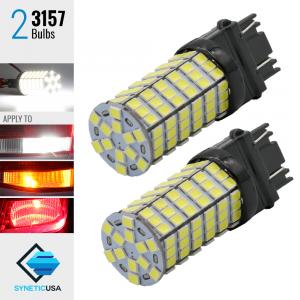 2X T20 3157/3156 LED 6000K White 120-SMD Reverse Brake Signal High Power Light Bulbs