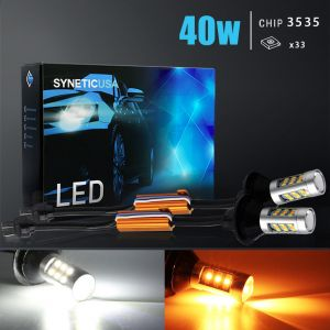 7443/7444 Super Bright 33-SMD Dual Color Switchback LED Bulbs With Load Resistor Version 2
