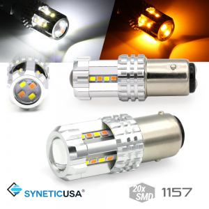 High Power 1157 Dual Color White/Amber Switchback Type 1 LED Turn Signal DRL Light Bulbs