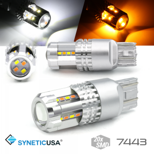 High Power 7443 Dual Color White/Amber Switchback Type 1 LED Turn Signal DRL Light Bulbs
