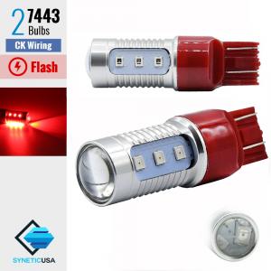 7443 CK LED Strobe Safety Flash Bright Brake Tail Light/Parking Bulbs