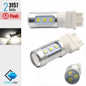 3157 (Standard & CK Socket) White LED Strobe Flash Brake Stop Light/Parking Bulbs Ford F-150/Ram 1500