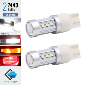2X 1200 LM 50W 7443 SRCK CK High Power LED Chip White Turn Signal Light Bulbs