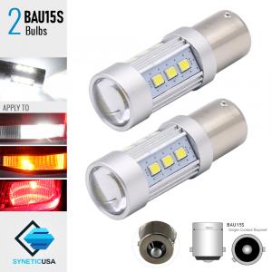 2X BAU15S 60W High Power White SMD LED White Turn Signal Brake Tail Light Bulbs