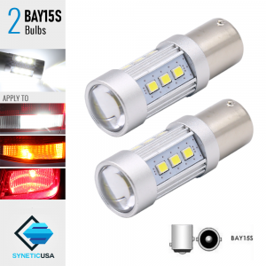2X BAY15S 60W High Power 1400LM White SMD LED Turn Signal Brake Tail Light Bulbs