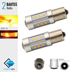 2X BAU15S 60W High Power Yellow/Amber SMD LED Turn Signal Brake Tail Light Bulbs
