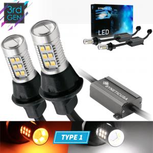 Error Free 3157 Dual Color White/Amber Type 1 Switchback LED Light Bulbs