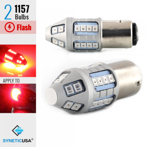 1157 Bright Red Flash Strobe Rear Safe Alert Brake Tail Stop LED Lights Bulbs