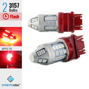 3157 Bright Red Flash Strobe Rear Safe Alert Brake Tail Stop LED Lights Bulbs