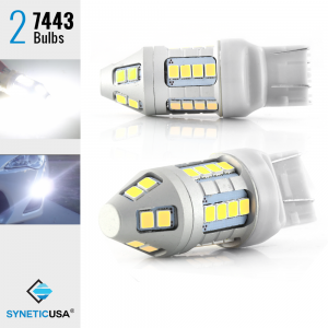 7443 7440 7444NA LED White Brake Stop DRL Parking Reverse Turn Light Bulbs