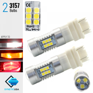 2X 3157 50W 3535 Chip 1300LM Projector LED White Reverse DRL Turn Signal Lights Bulbs