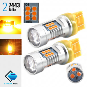 2X 50W 7443 LED Amber Yellow Front Rear Turn Signal Parking DRL High Power Light Bulbs