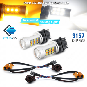 Error Free White/Amber 3157 LED DRL Switchback Turn Signal Light Bulbs 3535 Chip