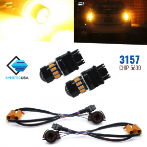 Error Free 3157 High Power LED Amber Front Turn Signal Light Bulbs+Resistors