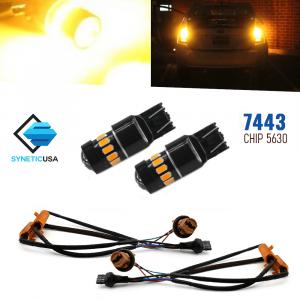 Error Free 7443 High Power LED Amber Yellow Turn Signal Light Bulbs+Resistors