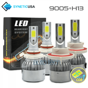 H13+9005 Cree LED Headlight Kit COB High/Low Beam+Fog Lights Kit Bulbs