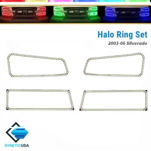 03-06 Silverado Bluetooth Angel Eyes LED RGB Headlight Halo Ring+Turn Signal Set