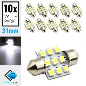10x 31MM Festoon 9-SMD LED Map/Dome/Interior Light (6000K White)