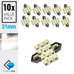 10X  31MM Festoon 12-SMD LED Map/Dome Interior Light Bulbs (6000K White/Blue)