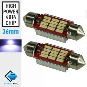 2x 36mm 12-LED Interior Map Dome Courtesy Festoon Light Bulb Cool White 4014 SMD