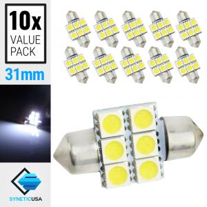 10X 31MM Festoon SMD 6-LED Map/Dome Interior Light Bulbs (6000K White)