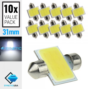 10X 6000K White COB LED Map/Dome Interior Lights Bulbs 31MM Festoon