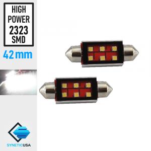 2X High Power 2323 Chip LED Map/Dome Interior Light Bulbs White 42 MM Festoon
