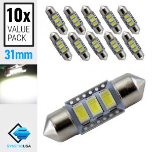 10X High Power 5630 Chip LED 6000K White Interior Lights Bulbs 31MM Festoon
