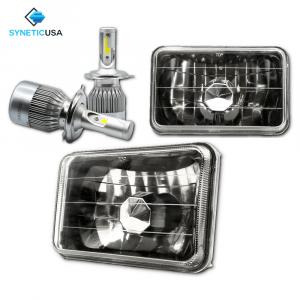"4""x6"" 120W CREE LED High/Low Beam Headlights Sealed Beam Smoked Lens"