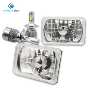 "4""x6"" 120W CREE LED High/Low Beam Headlights Sealed Beam Chrome Clear Lens"
